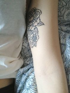 Inner arm rose tattoo  I love just plain, linear tattoos with no colour, this is gorgeous
