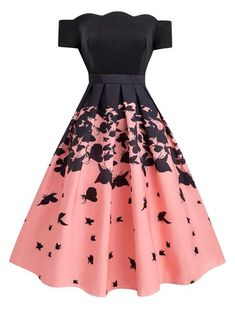 cute dresses Black Butterfly Swing Dress Retro Stage - Chic Vintage Dresses and Accessories Cute Prom Dresses, Dance Dresses, Elegant Dresses, Sexy Dresses, Beautiful Dresses, Casual Dresses, Dresses For Work, Summer Dresses, Formal Dresses