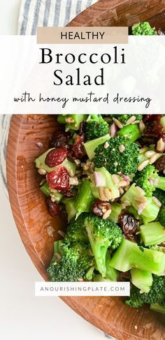 This healthy broccoli salad is the perfect side dish to transition into the warmer months ahead. Great for holidays, cookouts, or anytime! Healthy Broccoli Salad, Healthy Salad Recipes, Honey Mustard Dressing, Grain Salad, Pasta Salad Italian, Beet Salad, Broccoli Florets, Eating Raw, Salad Ingredients