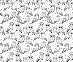 Owls - White and Black by Andrea Lauren fabric by andrea_lauren on Spoonflower - custom fabric