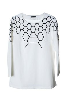 Oasap white blouse with black detailing