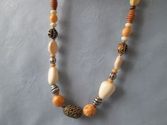 """Handmade Wood Beaded Necklace + Earrings -  used Vintage Beads - Cream, Tan, multi black -  Silver accents -  Earrings w/Post - Length 21"""" by LsFindsandCreations on Etsy"""