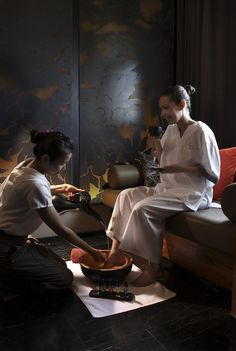 Foot bath ritual at So Spa which provides an innovative spa concept blending the world's best treatments with French cosmetology (Cinq Monds) and local high-end products (Ytsara)