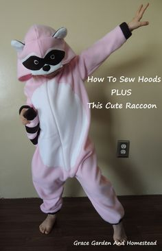 Tutorial shows how to sew a hood, place the face on, insert a soft pillow, plus has links to this adorable raccoon costume and more.