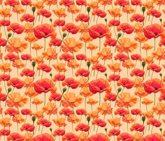 More Wizard of Oz - Orange Poppies fabric by joyfulrose on Spoonflower - custom fabric