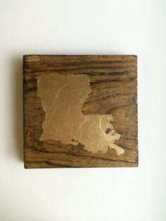 Wooden Gold Leaf Louisiana by PhoebeThomas on Etsy