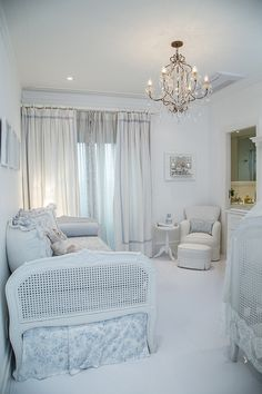 i love the attached bathroom and the matching daybed and crib.