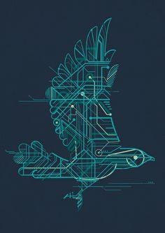 """Wind-Up Bird"" Art Print by Jay Fleck on Society6."