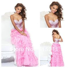 Sparkle Sequined Sweetheart Sexy Open Back Organza Ruffle Hot Pink Long Prom Dress 2013 New Arrival Free Shipping $127.49