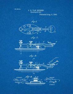 Famous vehicle blueprints are fantastic ragtag riot ragtag riot telegraph key patent print art poster blueprint 11 x malvernweather Images