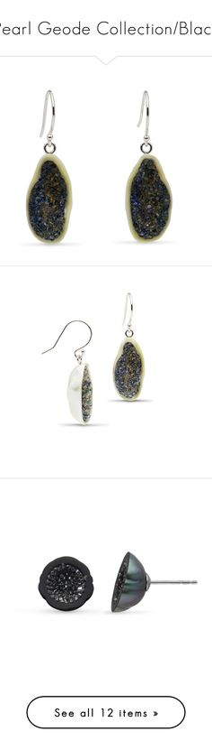 """Pearl Geode Collection/Black"" by littlehjewelry ❤ liked on Polyvore featuring pearljewelry, littlehjewelry, pearlgeodecollection, jewelry, earrings, pearl earrings, pearl earrings jewellery, geode jewelry, white earrings and geode earrings"