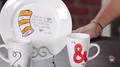 Combine a thrift store plate or cup and a Sharpie Marker along  with your oven to create these fun decorative dishes.