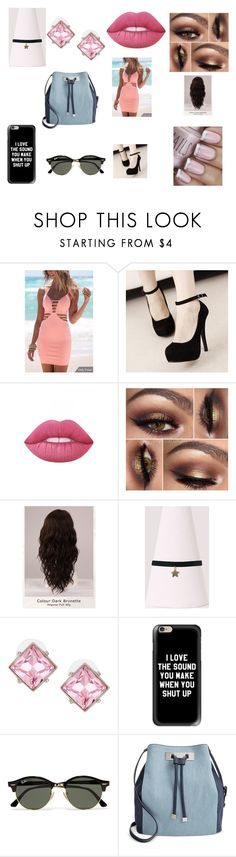"""""""Get Dressed"""" by hannah-may-malone on Polyvore featuring Lime Crime, WigYouUp, Kenneth Jay Lane, Casetify, Ray-Ban and INC International Concepts"""