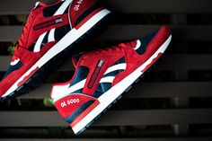 6f3f9044b1f8 The latest Reebok GL 6000 model to release features a Red suede base with  Navy nylon mesh and White leather detailing. You can now find these  available at ...
