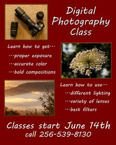 I will teach a Beginning Digital Photography Class at the Huntsville Art League in Lowe Mill beginning June 14th.  If you want to learn to use your nice camera as something other than a point-and-shoot, this class is for you.  Send me a message on Facebook, email through our website photographybyjimandfrieda.com, or call 256-539-8130 for more information.