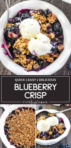 Blueberry Crisp is quick and easy to throw together! Not only is this amazing dessert oozing with sweet and syrupy berries, but it also has a buttery and crunchy crumble. Serve warm with a scoop of vanilla ice cream on top for the ultimate treat! Pin this recipe for later! Blueberry Recipes, Fruit Recipes, Real Food Recipes, Dessert Recipes, Simple Recipes, Summer Recipes, Vegan Recipes, Homemade Desserts, Köstliche Desserts