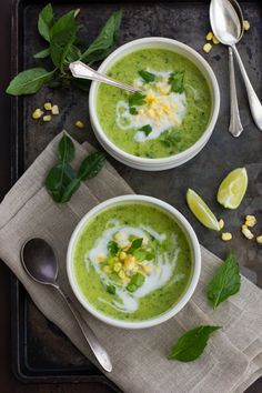 Creamy Thai Zucchini and Corn Soup with Coconut Milk, Kaffir Lime and Lemongrass // The Bojon Gourmet Asian Recipes, Gourmet Recipes, Soup Recipes, Vegetarian Recipes, Cooking Recipes, Healthy Recipes, Healthy Gourmet, Gourmet Foods, Cooking Tips