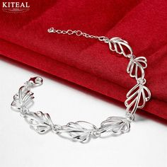Wholesale 2017 new silver bracelets leaf bracelet for women pulseira masculina wedding jewelry #Affiliate