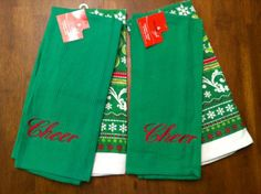 Cheer Christmas Kitchen Dish Towels Set of 4 * Find out more about the great product at the image link.