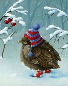 wish all birds had hats and boots for winter Christmas Bird, Winter Christmas, Vintage Christmas, Vintage Winter, Christmas 2019, Merry Christmas, Envelopes Decorados, Decoupage, Art Fantaisiste