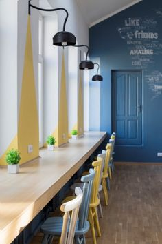 Coworking The Sun is a Comfortable Open Space for Work, Rest and Communication Modern Classroom, Classroom Design, Office Space Design, Teenage Room, Coffee Shop Design, Futuristic Design, Learning Spaces, Kid Spaces, Office Interiors