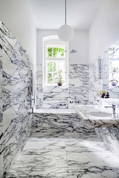 It's all about moderation, but not in this bathroom filled with marble.