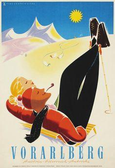 Vorarlberg _______________________________ Autriche ~ Österreich ~ Austria Vintage Advertisements, Vintage Ads, Vintage Prints, Retro Illustration, Digital Illustration, Illustrations, Bergen, Vintage Ski Posters, Railway Posters