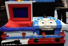 He also showed two children's caskets, one based on a superhero theme and another on the Thomas the Tank train story. His wife Michele said, ...