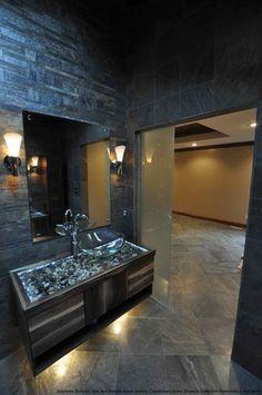 Slate Bathroom. Frosted Glass doors