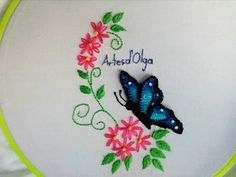 3D Butterfly Embroidery |Mariposa bordada en 3D |Hand Embroidery Tutorial by Artesd'Olga - YouTube