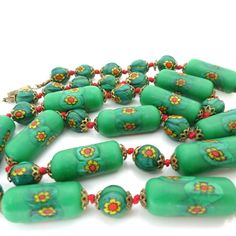 VINTAGE VENETIAN MURANO MATCHED MATTE MILLEFIORI GLASS BEAD NECKLACE