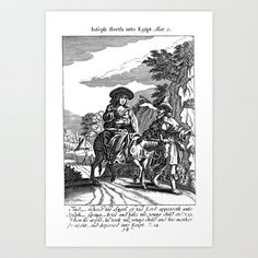 "Off to Egypt Art Print by 18th Century Bibles - $17.68 This copperplate engraving is from my original 1697 book, ""The History of ye Old & New Testament in Cutts""."