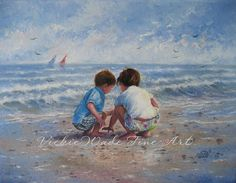 Beach Boy and Girl Art Print, beach art, beach children paintings, shelling, brother and sister, Vickie Wade art via Etsy
