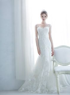 Graceful, delicate, and utterly romantic, this wedding dress from Monica Blanche featuring chic lace detailing is sure to turn heads! Princess Wedding Dresses, White Wedding Dresses, Bridal Dresses, Wedding Gowns, Weeding Dress, Amazing Wedding Dress, Beautiful Gowns, Bridal Collection, Wedding Bride