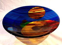 """Fused Glass bowl.  """"Sphere Sounds"""" strip fused shallow bowl @ Side Street Studio, Victoria BC"""