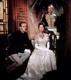 Charlton Heston, Ava gardner and David Niven for 55 Days at Peking directed by Nicholas Ray, 1963