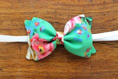 Baby Girl, Toddler, Girls Fabric Bow Headband or Hair Clip - Green Floral $9.00