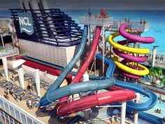 Waterslides on the Norwegian Cruise Line--  Google Image Result for http://www.icruiseblog.com/wp-content/uploads/2012/10/NCL-Aqua-Park.jpg