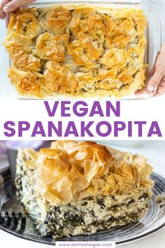 Vegan Spanakopita made with super easy homemade vegan feta. It's my take on the great Greek spinach and feta pie! Featuring shatteringly crisp phyllo pastry, and a soft, salty, feta-cheesy, spinachy filling, all baked up to golden perfection. Comfort food at it's finest.