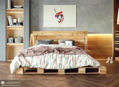 Featuring a floor lying pallet platform frame and pallet headboard, the queen was designed for convenience -it works with all mattresses, does not require a box spring and does not require assembly.  Designed and produced by palletbedz.com Handcrafted using re-purposed quality cedar pallet wood. No