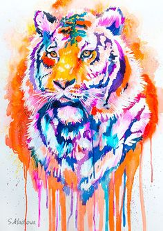 Tiger watercolor painting print animal illustration by SlaviART Art Watercolor, Watercolor Animals, Painting Prints, Painting & Drawing, Tiger Painting, Tiger Drawing, Tiger Art, Art Amour, Art Et Illustration