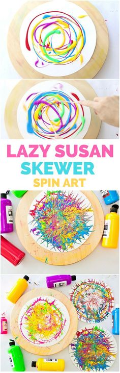 Lazy Susan Skewer Spin Art With Kids. Fun process action art for kids.