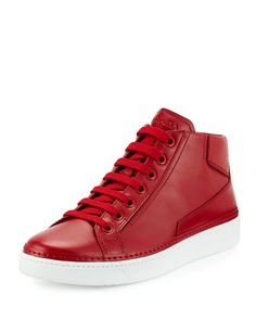 Leather Mid-Top Sneaker, Red by Prada at Neiman Marcus.