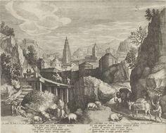 Johann Sadeler (I) | Rotsachtig landschap met de fabel van de ezel en het wilde zwijn, Johann Sadeler (I), Clemens VIII, Rudolf II van Habsburg (Duits keizer), 1595 - 1600 | Rotsachtig landschap met een stad op de achtergrond. Links een trap in de heuvels en een houten brug. Op de voorgrond vijf zwijnen. Rechts komen twee beladen ezels de berg op. Een van de ezels confronteert een zwijn met zijn luiheid. Dit is de verbeelding van een fabel van de ezel en het wilde zwijn. De prent heeft een…