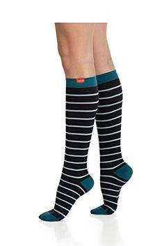 VIM  VIGR Stylish Compression Socks  NEW Womens Nylon Socks Medium Mint  Black  Turquoise Heel * Be sure to check out this awesome product.
