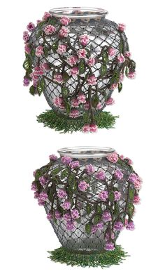Seed Beads for the patio...  Seed bead flower covered vase
