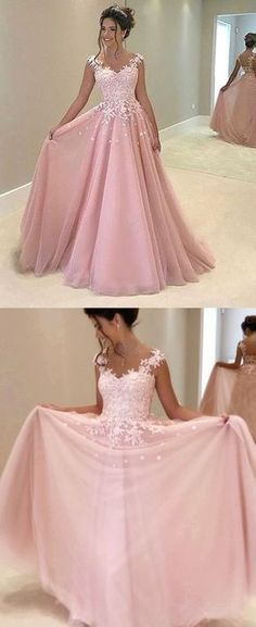A-Line Pink Appliques Prom Dress, Long Prom Dress, Charming Prom Dress, Chiffon Evening Dress 0804 by RosyProm, $155.99 USD
