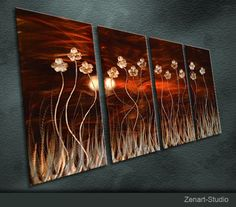 """Original Metal Wall Art Modern Painting Sculpture Indoor Outdoor Decor """"Exotic Brown Flowers"""" By Ning on Etsy, $159.00"""