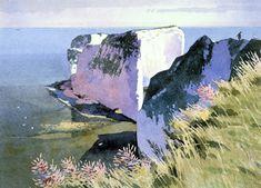 Ronald Jesty - Handfast Point (Old Harry Rock) Pastel Landscape, Landscape Art, Landscape Paintings, Landscapes, Seascape Paintings, Watercolor Paintings, Watercolours, Harry Rocks, Water Images