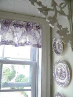 A miniature valance out of the Brimfield Toile I found now hangs at my kitchen window. Since I collect purple transferware and have start. Lavender Kitchen, Lavender Cottage, Rose Cottage, Lavender Room, Lavender Blue, Lavender Fields, Toile Curtains, Purple Curtains, All Things Purple